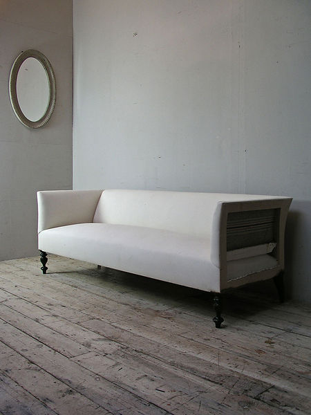French house made 3 seat sofa on turned legs