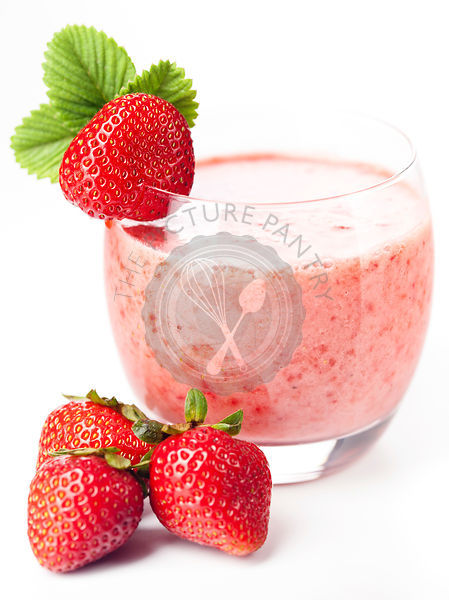 Strawberry milk cocktail on white background