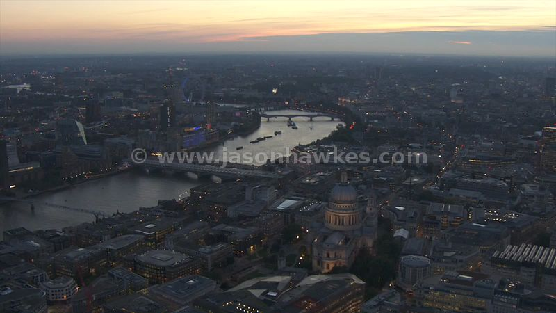 Aerial footage over St Pauls, London