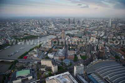 Aerial view of Southbank at dusk looking East, London