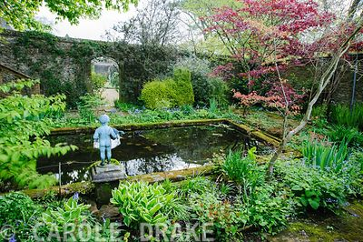 Pond garden planted with acers, ferns and hostas around a formal pool, with putto. Wayford Manor, Wayford, Crewkerne, Somerse...