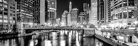 Chicago River Clark Street Bridge at Night Panorama Photo