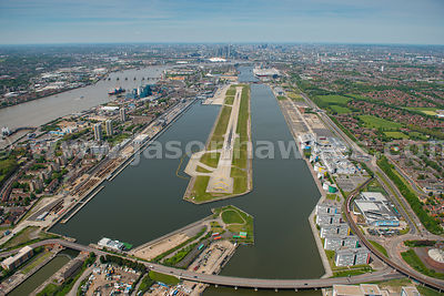 Aerial view of London City Airport runway, London