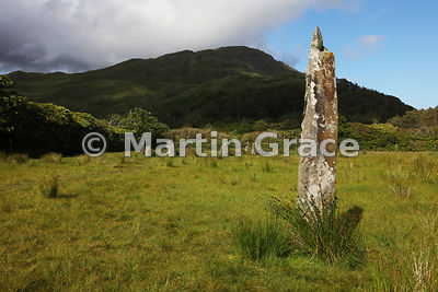 Outlying standing stone of Lochbuie Stone Circle with Creach-Beinn behind, Lochbuie, Isle of Mull, Argyll & Bute, Scotland