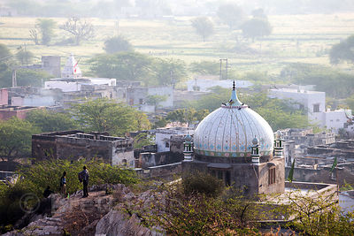 Mosque and Hindu temple in remote Bir village, Rajasthan, India