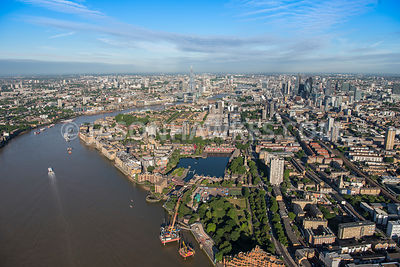 Aerial view of London, Shadwell and River Thames.