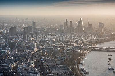 Aerial view of London, Strand towards City of London with St Paul's Cathedral.