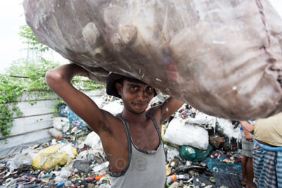 Plastic recycling, Dhapa, Kolkata, India. Dhapa is a large industrial zone that processes most of Kolkata's garbage and recyc...