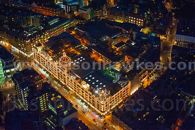 Night aerial view of Harrods, Knightsbridge. London