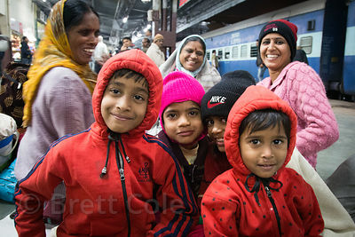 Family at the Ajmer train station, Rajasthan, India