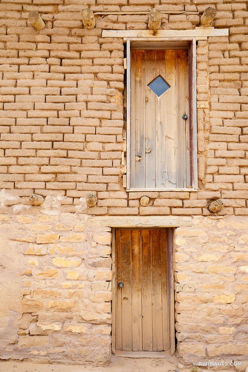 TWO DOORS ADOBE STYLE ARCHITECTURE NORTHERN NEW MEXICO COLOR