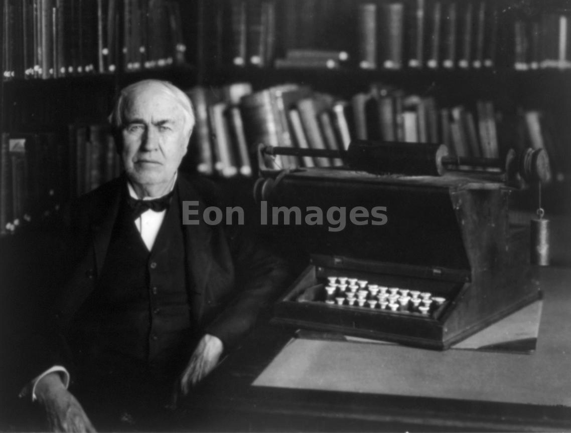 Thomas Edison with first typewriter in 1921