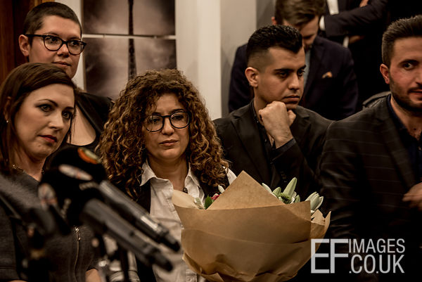 Ava Nadir Receives Flowers At Her Silence Of The Words Exhibition, At The French Institute, Erbil