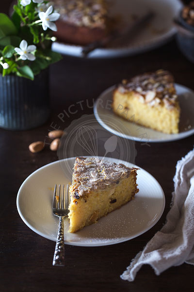 A slice of Ricotta and Almond Cake