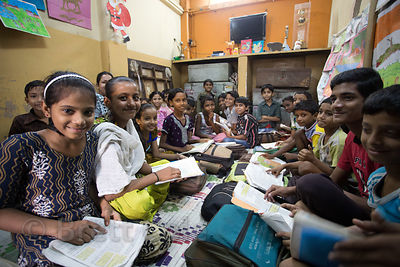 Crowded classroom at a school in Topsia, Kolkata, India
