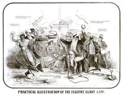 Cartoon satirizing Fugitive Slave Act of 1850