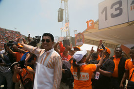 Andry RAJOELINA, candidate in the presidential election in Antananarivo on November 3, 2018, during his meeting at the Colyse...