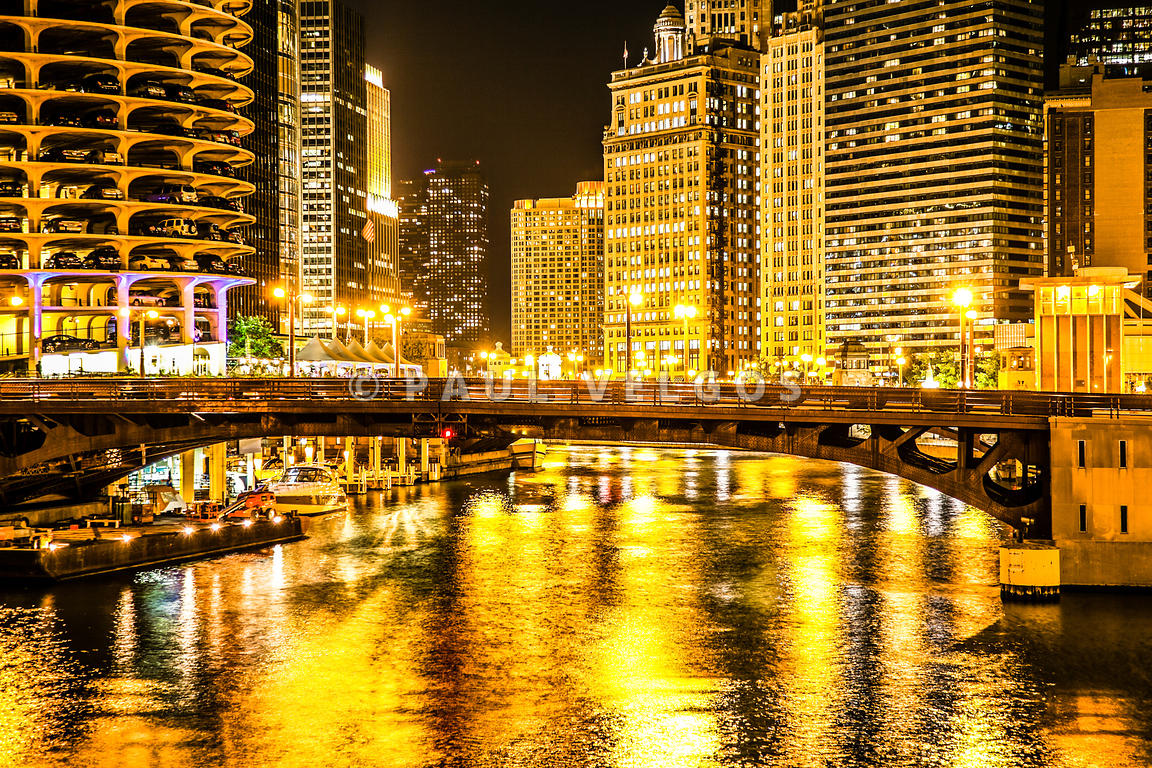 Picture of Chicago Dearborn Street Bridge at Night