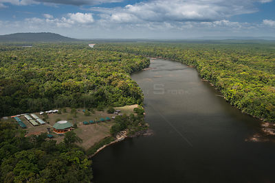 Iwokrama Lodge, tourist accommodation in Iwokrama Reserve, on the Essequibo river, the longest in Guyana, South America