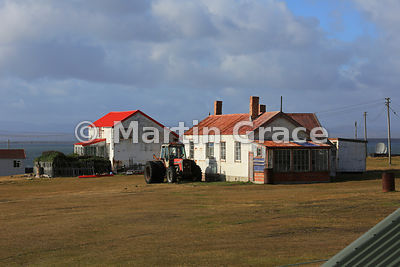 Typical Falkland Islands settlement buildings, here at Pebble Island Settlement, Falkland