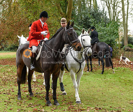 Major Tim Brown, Russell Cripps at the meet. The Cottesmore Hunt at Somerby