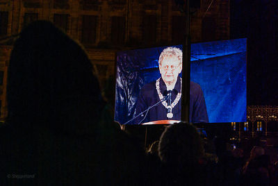 Amsterdam, Netherlands 2015-01-08: Projection screen with Mayor Eberhard van der Laan during his speech.