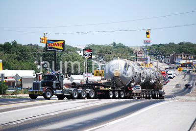 Trucking Stock Photo: Oversize load driving through Clarendon, Texas