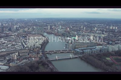 Aerial footage of Battersea and Nine Elms, London