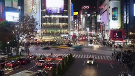 Medium Shot: Throngs Of Pedestrians At Shibuya Crossing