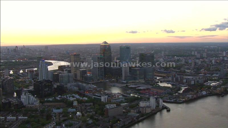 Aerial footage around Canary Wharf, Isle of Dogs, London, England