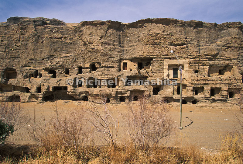 the exterior of Mogao Caves.