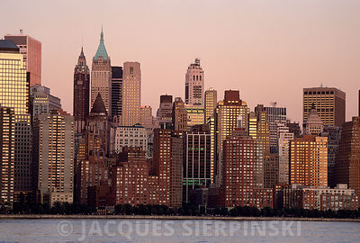 USA, New York City, Financial District au couchant