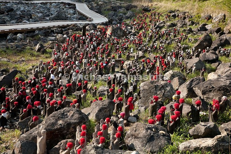 1000 Jizo statues placed in honor to the many living things that died here due to poisonous volcanic gases.