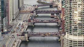 Bird's Eye: Tight Shot Looking Down the Chicago River Canyon During A Gusty Day