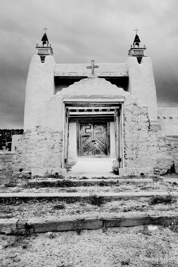 SAN JOSE DE GRACIA LAS TRAMPAS CATHOLIC CHURCH NEW MEXICO BLACK AND WHITE VERTICAL