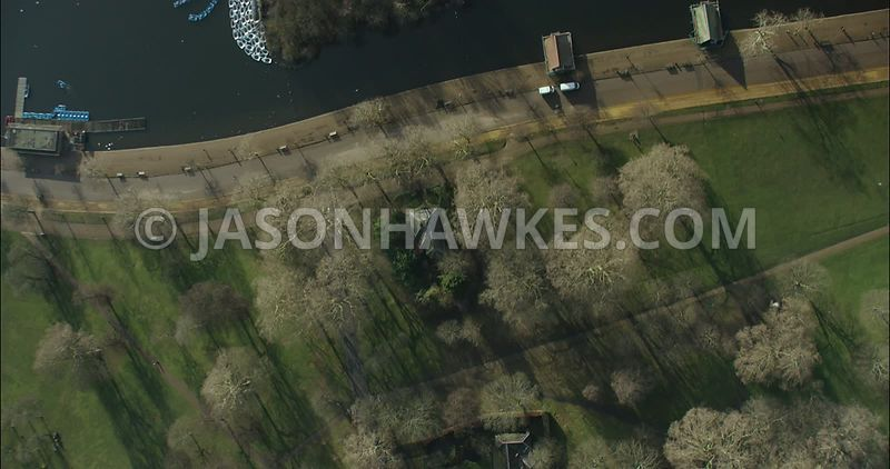 London Aerial footage, Hyde Park close up.