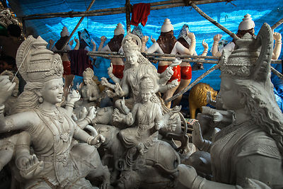 Stunning high-end sculpted figures at a workshop in Lalbaug, Mumbai, India.
