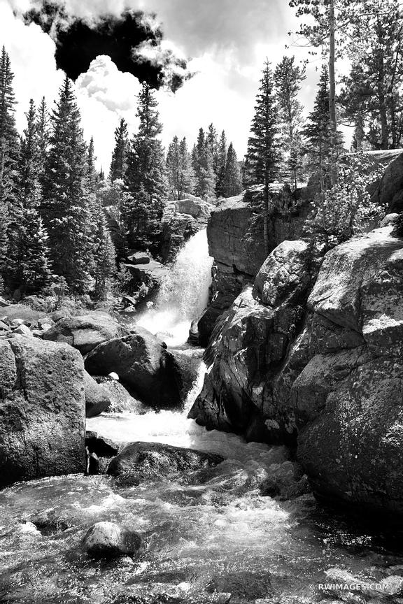 ALBERTA FALLS ROCKY MOUNTAIN NATIONAL PARK COLORADO BLACK AND WHITE VERTICAL