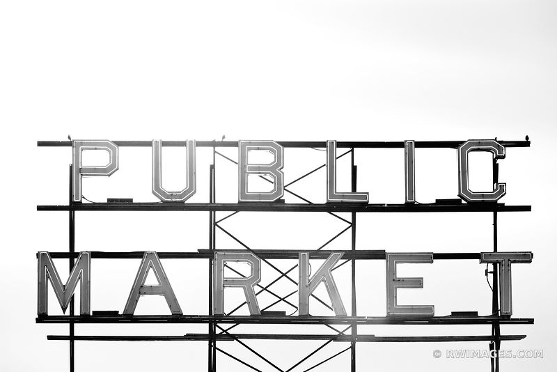 PUBLIC MARKET NEON SIGN SEATTLE BLACK AND WHITE