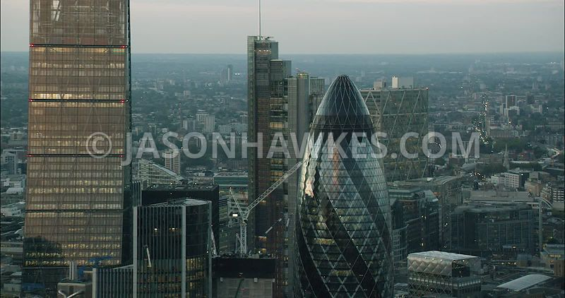London Aerial Footage of 30 St Mary's Axe and Leadenhall Building.