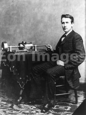 Thomas Alva Edison, with phonograph in 1878