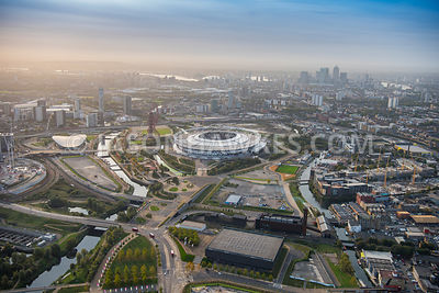 Aerial view of London, Stratford with Copper Box Arena and Aquatics Centre.