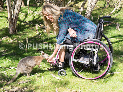Young woman using a wheelchair visiting a wildlife sanctuary