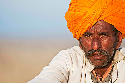 This portrait of a rural Rajasthani man was shot at Jamba.