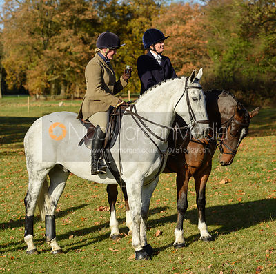 Rebecca Vernon, Lady Violet Manners at the meet. The Belvoir Hunt at the Kennels 13/11