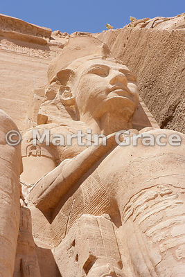 Colossus of Ramesses II on the facade of the Sun Temple of Abu Simbel, Egypt
