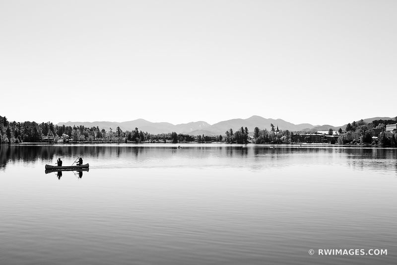 CANOE LAKE PLACID ADIRONDACK MOUNTAINS UPSTATE NEW YORK BLACK AND WHITE