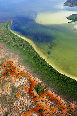 Aerial shot of the Laguna Sian Ka'an, freshwater lagoon,  close to Boca Paila,  Quintana Roo, Yucatan Peninsula, Mexico. Febr...