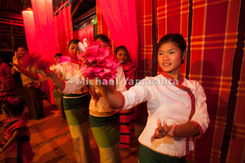 Village of 600, south of Songkhom, home stay village welcome ceremony. Dining and dancing. Homestay is mostly for Thai touris...