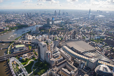 Aerial view of London Waterloo Station and River Thames
